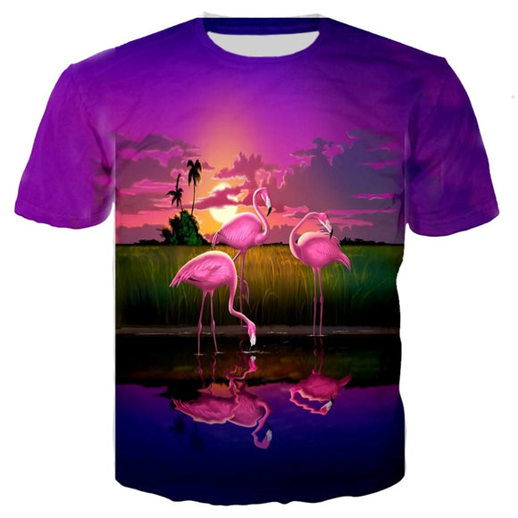 3D Print tShirt Men Women Flamingos Floral Hawaiian Summer T-Shirt Short Sleeve Parrot Peacock Tees