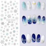 1 sheet Christmas Theme Nail Water Decals Winter Snowflake Transfer Stickers Xmas Deer Nail Art Slider Sticker Tattoo Decoration