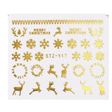 1 Pcs Gold Silver Christmas Design Nail Art Stickers Winter Snow Flower Sliders Water Decals for Nails Manicure Tool LASTZ-YA-1