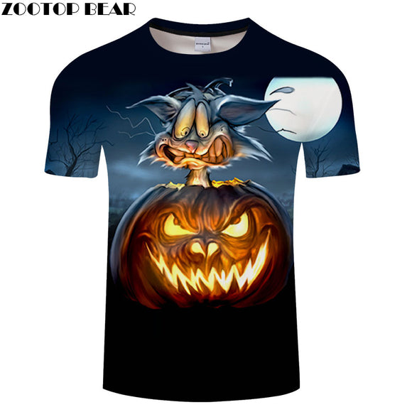 Jack O'Lantern Printed tshirt Men t shirt Mens Top Tee Hot sale t-shirt Short Sleeve