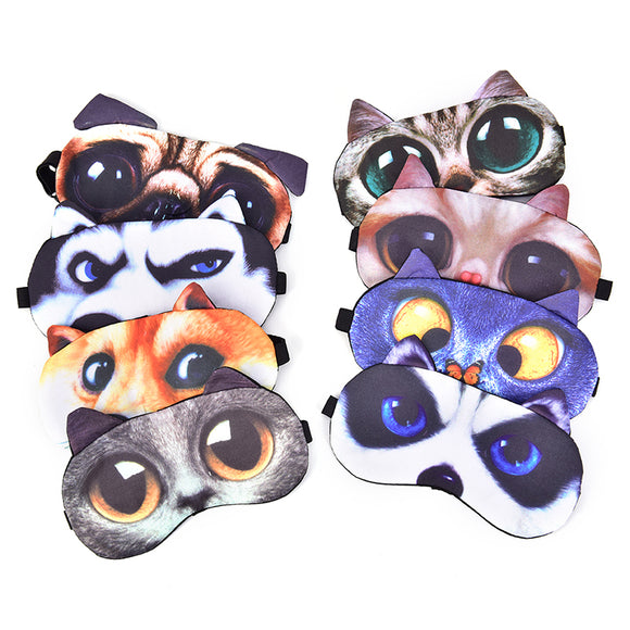 Cute Cartoon Eye Cover Travel Eye Band Sleeping Aid Blindfold Cute Cat Dog Sleeping Mask