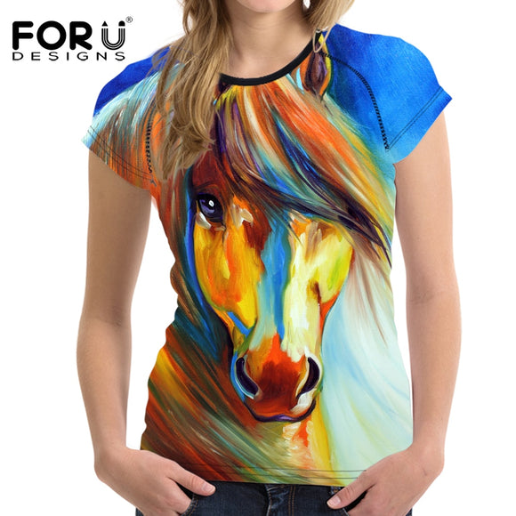 FORUDESIGNS 3D Crazy Horse Women T Shirt For Girls Summer Female Casual Shirt Short Sleeved Ladies T-shirts Woman Tops Feminine