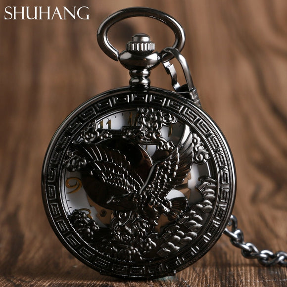 Hawk Eagle Luxury Skeleton Watches Hand-wind Black Mechanical Pocket Watch for Men Women