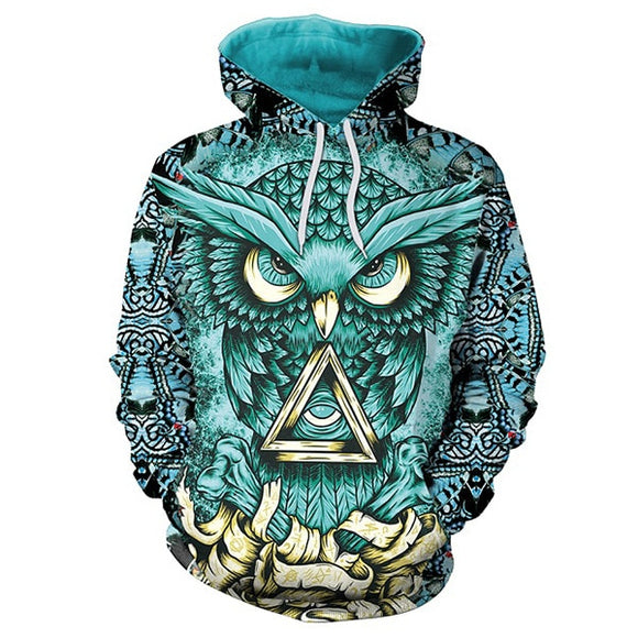3D Owl Hoody Gold Metal Cool Fashion Sweatshirt