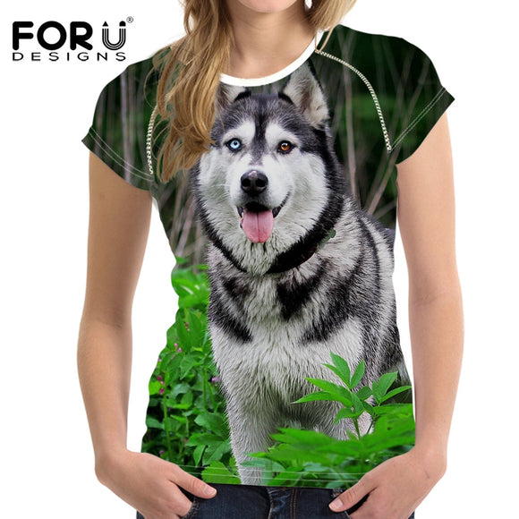 Husky T-Shirt Summer Puppy Ladies Bodybuilding Tee Top Clothes Hawaiian