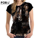 Crazy Horse Women T Shirts Tee Shirt Femme 3D Animal Comfort Short-sleeved