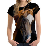 3D Animal Horse Printed T shirt for Women