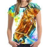 FORUDESIGNS 3D White Gallant Horse Print T Shirt Women Short Sleeve Crops Top Fashion Brand Breathable Female O Neck Tee Shirts