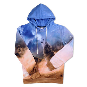 3D Wolf Hoodies Men/Women Sweatshirt Wolf Print Pullover With Big Pockets