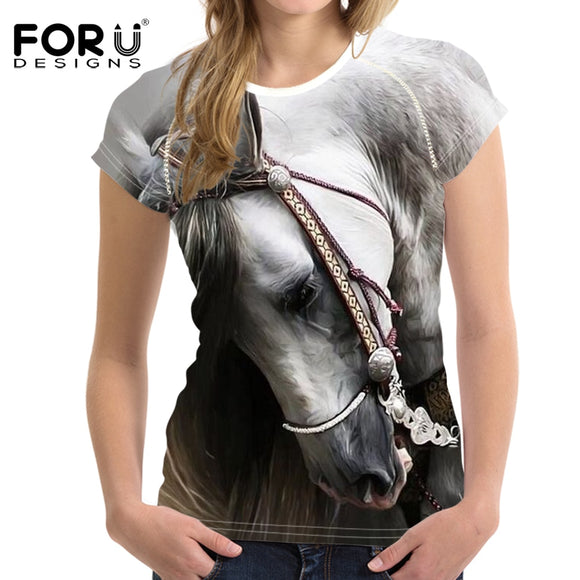 Horse Crazy 3D Print Women T-Shirts Novelty Short