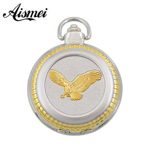 Fashion High Quality retro silver and gold alloy eagle pocket watch gift watch