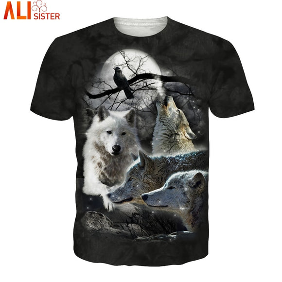 Alisister Ice Wolf 3d T Shirt Hip Hop Animal Tee Shirts EUR Size Camisa Masculina Funny Summer Men Women Tops Unisex Pullover
