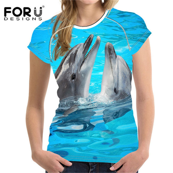 3D Dolphin Shark Prints Woman Tops Tees Shirts Novelty Female Shirt Feminine T-shirt