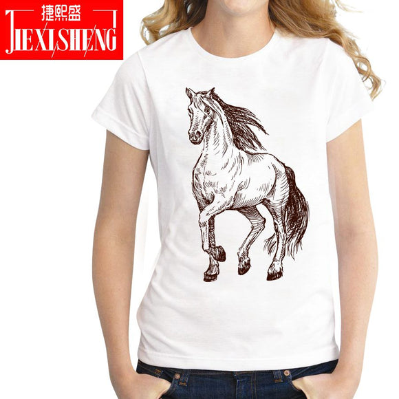 Summer Women T shirt Short sleeve round neck horse Print Casual Tees Women's clothing