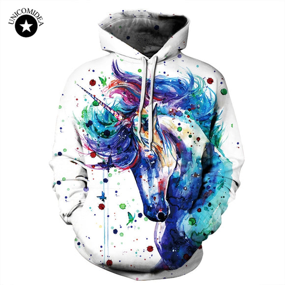 Unicorn Hoodie Funny Sweatshirts Printed Animal Horse 3d Hoodies Pullovers