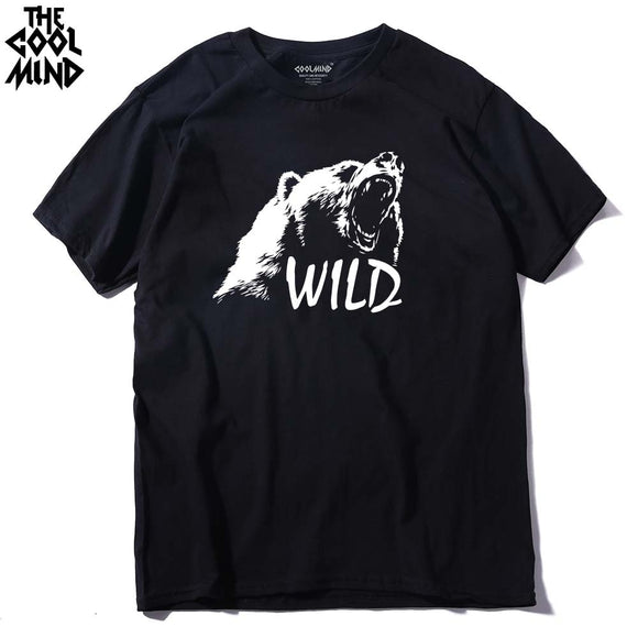 bear printed men t shirt casual short sleeves men's t-shirt casual o-neck summer tshirt
