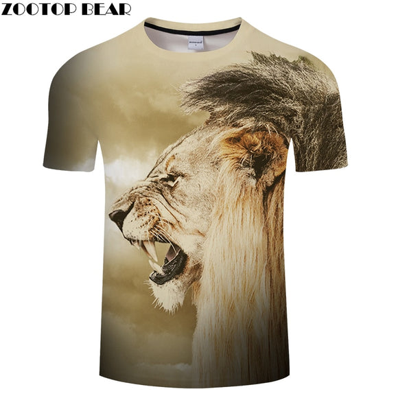 Animal 3D tshirt Men Women T shirt Lion t-shirt Casual Tee Streatwear Top Short Sleeve Camiseta O-neck 2018 Drop ship ZOOTOPBEAR