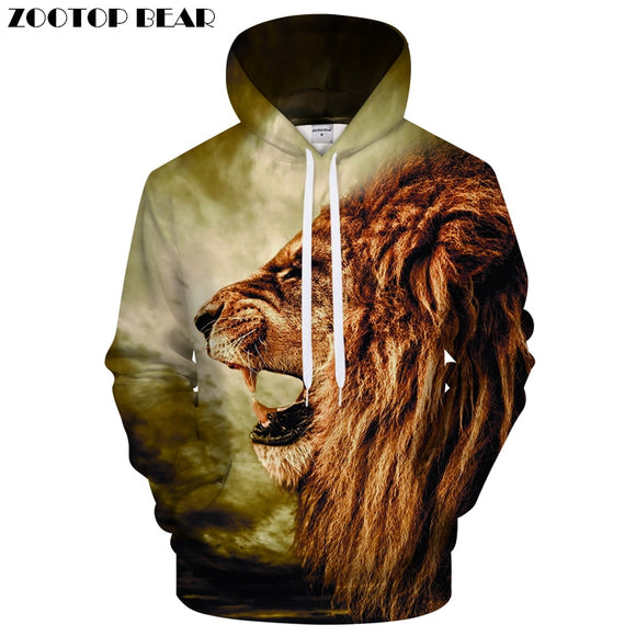 3D Lion Printed Hoody Sweatshirts Hooded Men and Women