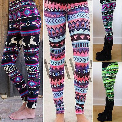 Cozy Women Winter Christmas Reindeer Snowflake Striped Knitted Elastic printed Leggings Xmas Fitness Pants