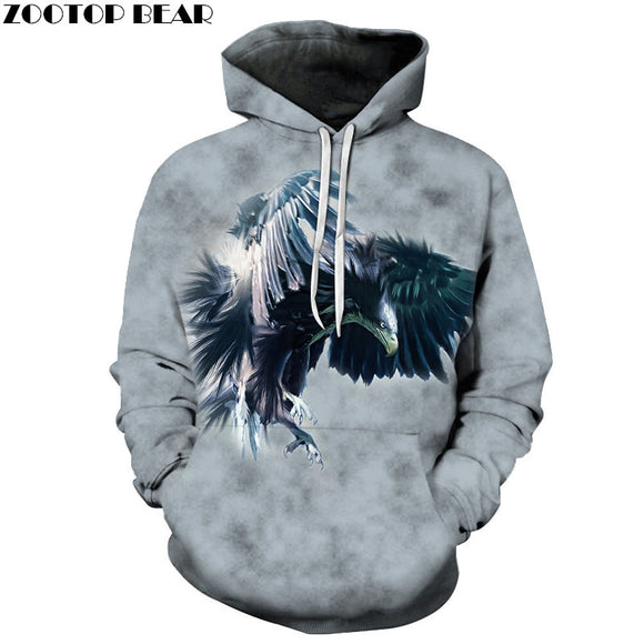 3D Printing Pullover Eagle Sweatshirts Men Hoodies