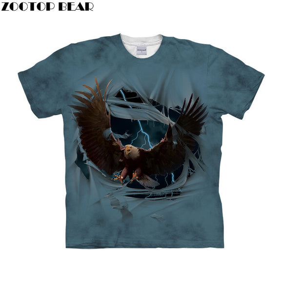 Funny Eagle t shirt 3d t-shirt Men Women tshirt Short Sleeve tshirt O-neck Top Streetwear Tee Male 6xl Drop Ship ZOOTOP BEAR