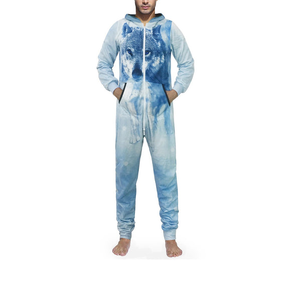 Ice wolf style winter 3D sublimation onesie