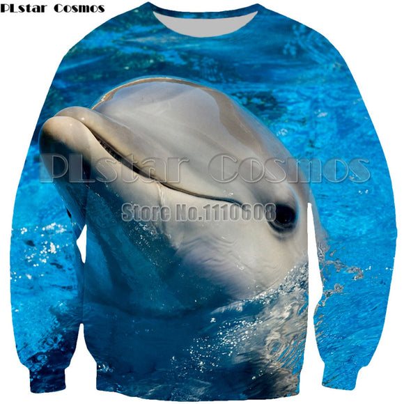 3D Dolphin Hoodies Cute Men women sweatshirt Loving Dolphin Family Pullovers