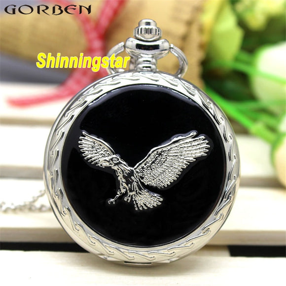 Exquisite Silver Eagle Wing Luxury Quartz Pocket Watch Smooth Surface Men/Women Pocket Watch