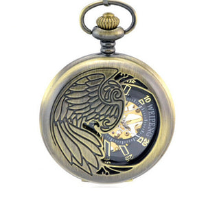 Men and Women Bronze Eagle Wings Nostalgic Retro Pocket Watch Mechanical Pocket Watch