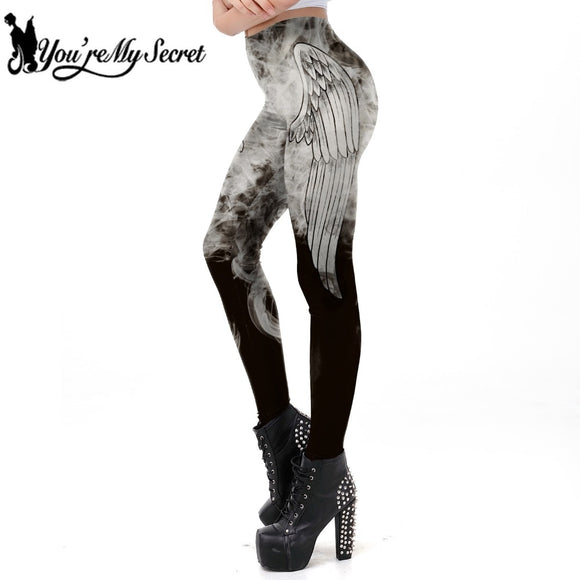 Dark Grey Angel Wing Smog Printed Leggins Women Gothic Workout Legging Fitness Ankle Pant