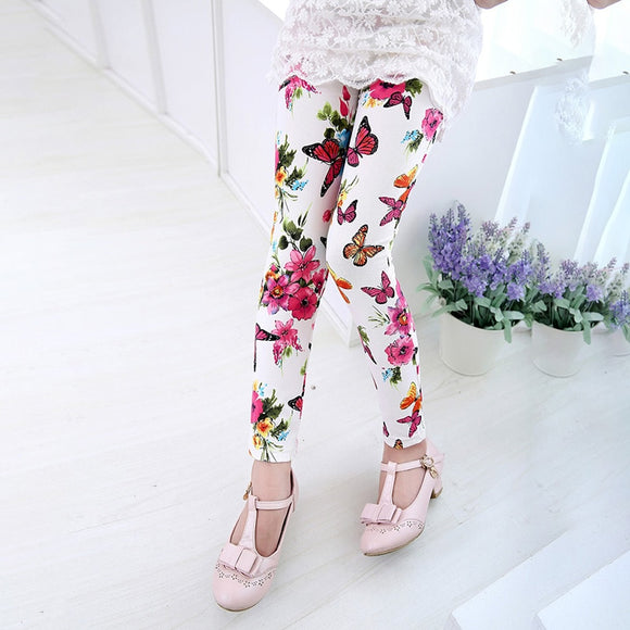 Girl Leggings Pants Printed Stretch Trousers Girls Spring /Autumn Kids Girls Leggings 2-14Y 6 Color Girls Pants