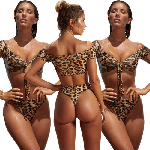 Sexy Leopard Women Set Push-Up Padded Swimwear Swim suit Bathing Beachwear Leopard Sexy Ladies Beach Wear Suits