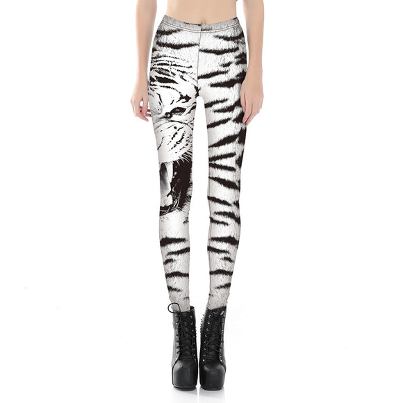 Women's Jeggings  3d White Tiger Printed Skinny Pants Sexy Girls Sliming Pirate Leggings
