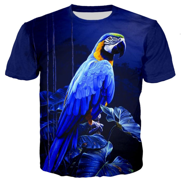 Parrot Peacock Bird Mens 3D Print tShirt Women Flamingos Floral Hawaiian Summer T-Shirt Short Sleeve Tees