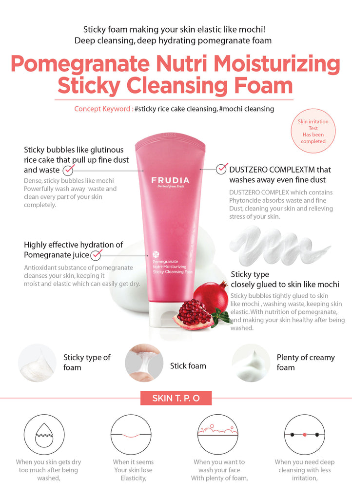Pomegranate Nutri-Moisturizing Sticky Cleansing Foam Frudia