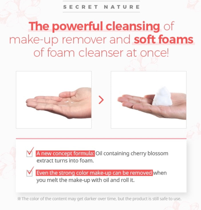 Cherry Blossom Oil To Foam Cleanser Secret Nature