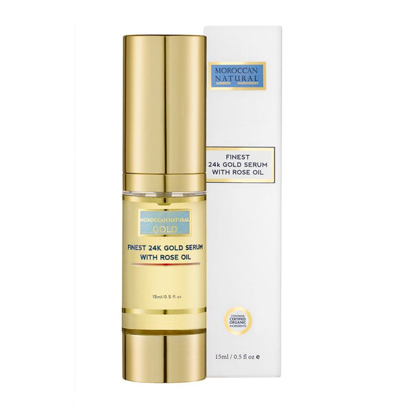 Finest 24K Gold Serum With Rose Oil Moroccan Natural Sieri Viso E Trattamenti Specifici