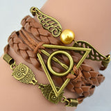 Bracelet from leather cord with Owl or the sign of the Deathly Hallow - Cosware-store.com