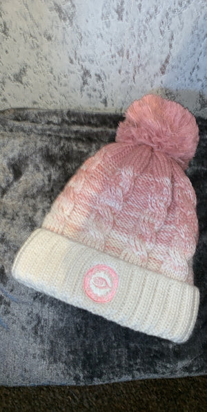 Woman's baby pink and white beenie