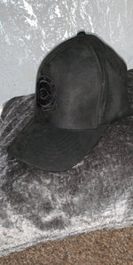 All black suede baseball cap