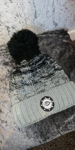 Woman's black and grey beenie