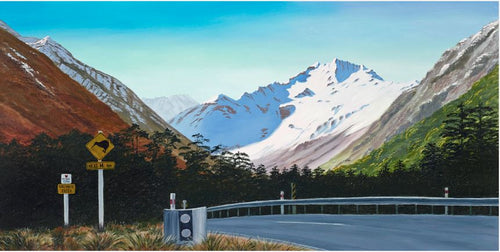Arthur's Pass with Mt Oates and Kiwi Sign - Ruth Reid