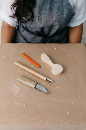 HARDWOOD BLANKS: SPOON, KNIFE AND RIVER STONE