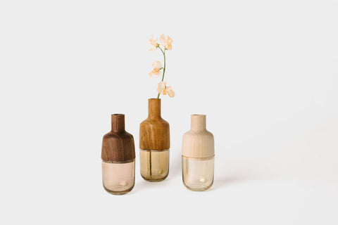 Marais Vase Collection | Solid Hardwood & Glass