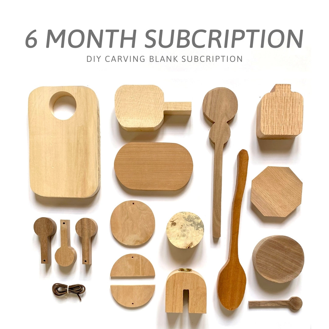 Mel's Carving Club: 6 Month Subscription Carving Blank Box