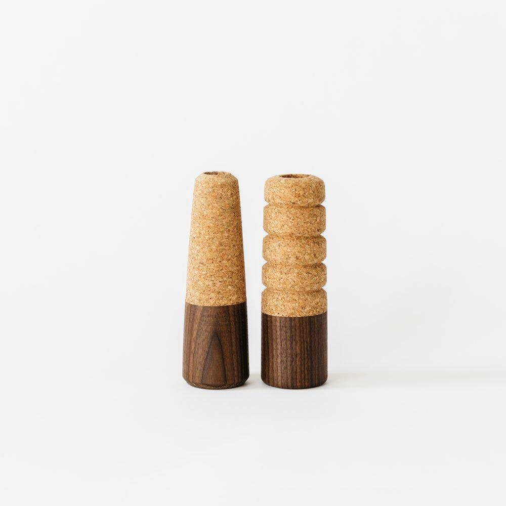 Tall Cork + Wood Candlestick
