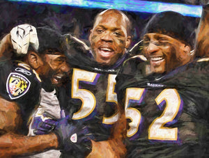 *30x40* Ed Reed, Terrell Suggs & Ray Lewis * Gallery-wrapped Canvas - majorleaguecreative.com