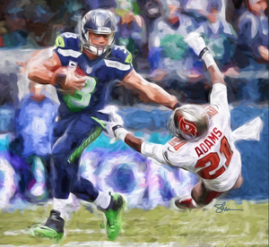 Russell Wilson: Stiff-arm * Gallery-wrapped - majorleaguecreative.com