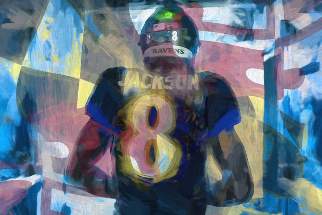 *20x30* Lamar Jackson: The Tunnel * Gallery-wrapped Canvas - majorleaguecreative.com