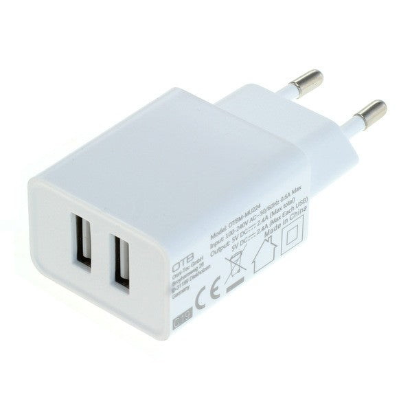 Ladeadapter USB - 2,4A 2-Port Multiadapter - weiß